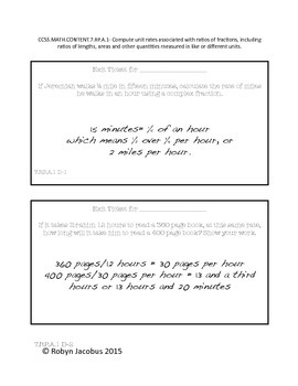 7th Grade Math Common Core Standard Exit Tickets ANSWER KEY