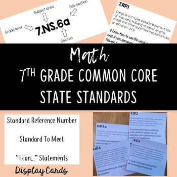 7th Grade Math Common Core State Standards Display Cards