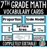 7th Grade Math Vocabulary Cards