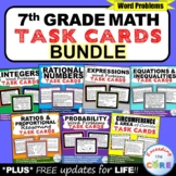 7th Grade Math Common Core WORD PROBLEM TASK CARDS { BUNDLE } End of Year