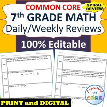 Distance Learning 7th Grade Daily / Weekly Spiral Math Review Common Core