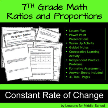 7th Grade Math – Constant Rate of Change