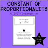 7th Grade Math Constant of Proportionality Scavenger Hunt