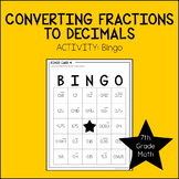 7th Grade Math Converting Fractions to Decimals Activity