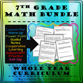 7th Grade Math Bundle – Year Long Curriculum, 2,300+ Pages of Content, CCSS