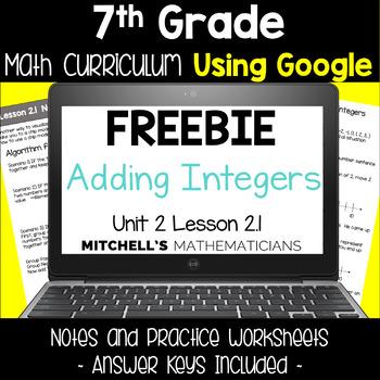 7th Grade Math Curriculum Adding Integers Unit 2 Using Google FREEBIE