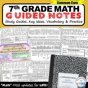 7th Grade Math GUIDED NOTES Bundle - Interactive Math Notebooks