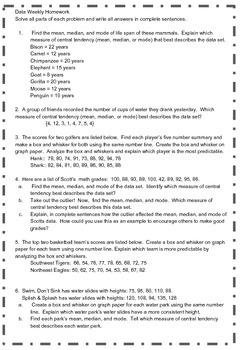 7th Grade Math Data Homework