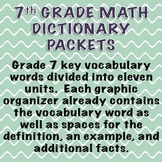 7th Grade Math Dictionary Vocabulary Packets for ENTIRE Year!