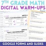 7th Grade Math Digital Warm Ups - Distance Learning