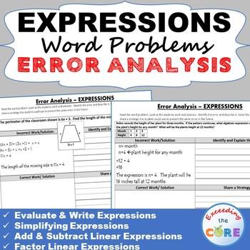 EXPRESSIONS Word Problems -  Error Analysis  (Find the Error)