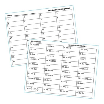EXPRESSIONS Word Problems - Task Cards {40 Cards}