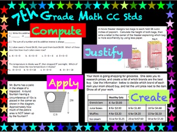 7th Grade Math ~Each standard broken down and assessed in four ways