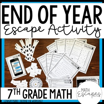 7th Grade Math End of Year Escape Room Activity