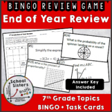 7th Grade Math End of Year Review - BINGO and Task Cards