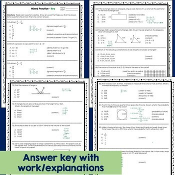 7th Grade Math End Of Year Review Test Prep