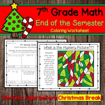7th Grade Math End Of The Semester Coloring Worksheet By Math In Demand