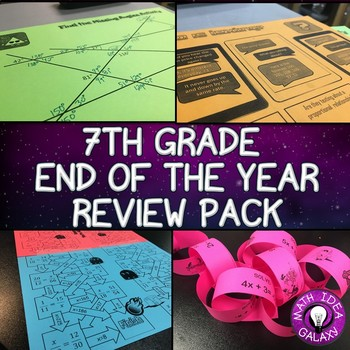 7th Grade Math End of the Year Review Pack