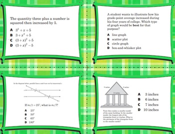 7th Grade Math End-of-the-Year Review Task Cards