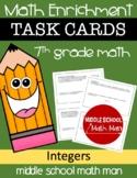 7th Grade Math Enrichment Task Cards - Integers