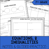 7th Grade Math Equations & Inequalities Notes & Guided Practice