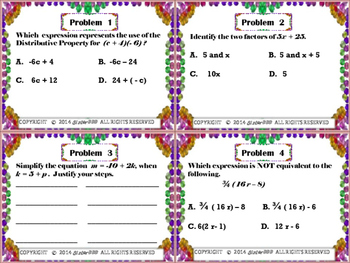 7th Grade Math Equations and Expression Common Core EE1 Quiz