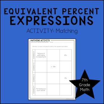 7th Grade Math Equivalent Percent Expressions