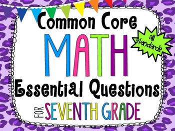 7th Grade Math Essential Questions Cheetah Print *Common Core Aligned*