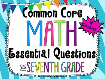 7th Grade Math Essential Questions Zebra Print *Common Core Aligned*