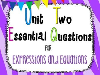 7th Grade Math Essential Questions Zebra Print *Common Core Aligned*