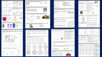 7th Grd Math Assessment Bundle (9 exams,7 study guides,7 Jeopardys) Common Core