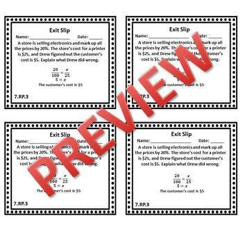 7th Grade Math Exit Slips/Exit Tickets Ratios & Proportional Relationships