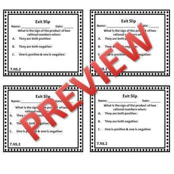 7th Grade Math Exit Slips/Exit Tickets Number System