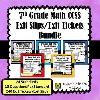 7th Grade Math Exit Tickets/Exit Slips Bundle {Common Core}