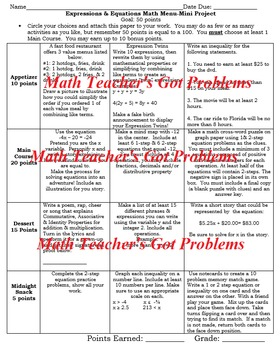 7th Grade Math: Expressions & Equations:A Math Menu- Choice Board Project 7EE