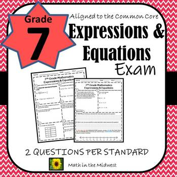 7th Grade Math Expressions & Equations Assessment/Exam/Test/Review {EDITABLE}