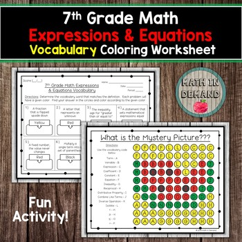 7th Grade Math Expressions Equations Vocabulary Coloring