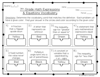 7th Grade Math Expressions & Equations Vocabulary Coloring Worksheet