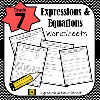 7th Grade Math Expressions & Equations Worksheets