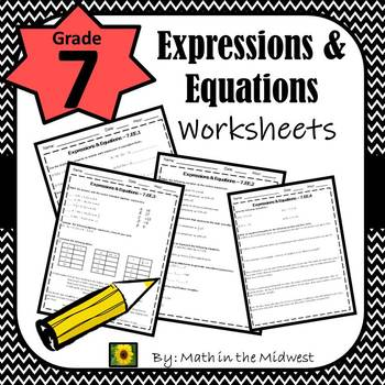 7th Grade Math Expressions Equations Worksheets By Math In The Midwest