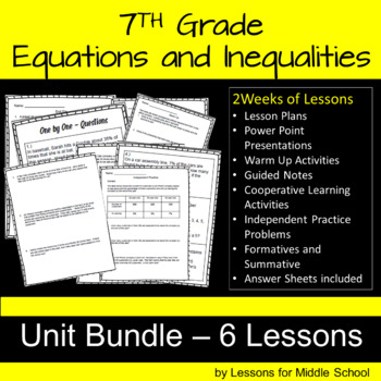 7th Grade Math – Expressions, Equations and Inequalities BUNDLE