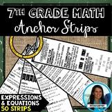 7th Grade Math Expressions and Equations Anchor Strips
