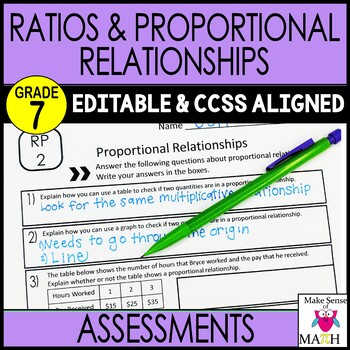 7th Grade Math Ratios and Proportions Common Core Mini Ass