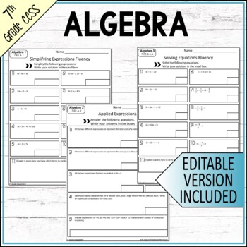 7th Grade Math Expressions and Equations Common Core Mini Assessments