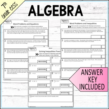7th Grade Expressions and Equations Assessments Common Core Aligned