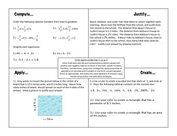 7th Grade Math Expressions and Equations Compute, Justify, Apply, Create