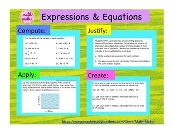 7th Grade Math Expressions and Equations Compute, Justify,