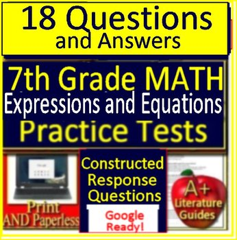 7th Grade Math Expressions and Equations:  Test Prep Test Questions