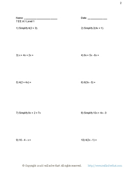 7th Grade Math: Expressions and Equations Unit Worksheets, Quizzes, & Unit Test