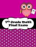 7th Grade Math Final Exam